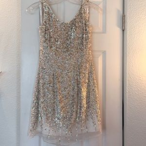 Sherri Hill silk sequin white short dress